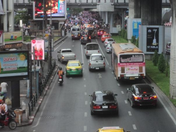 Uno de los atascos de Bangkok