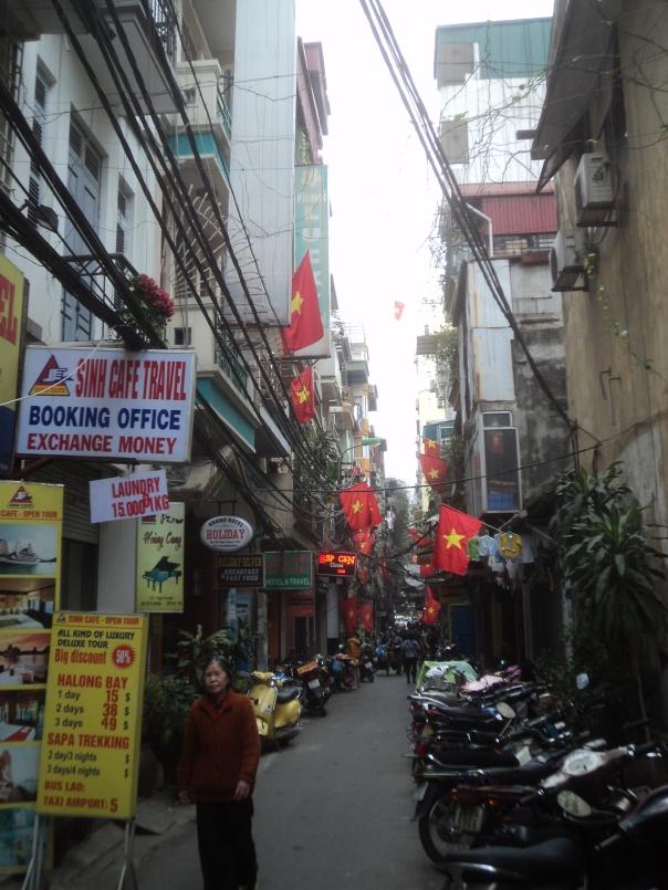 Zona mochilera en Hanoi