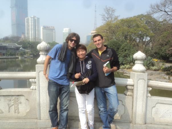En un parque chino con Mati y Shan