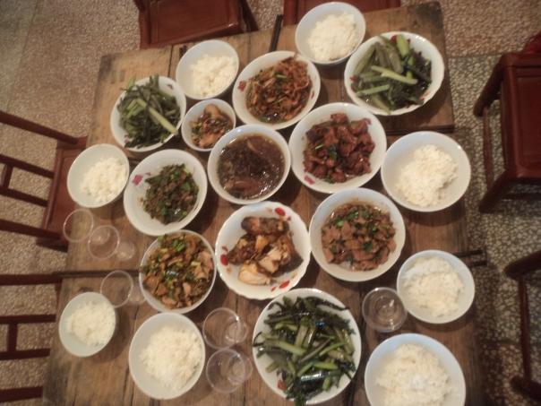 Tipica comida familiar en Changsha