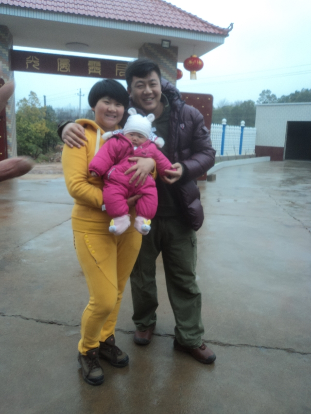 Los padres con el bebe