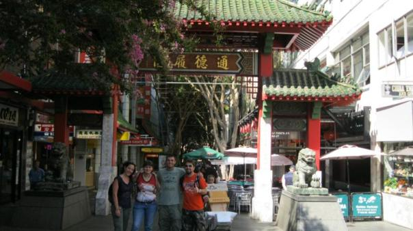 Con Monica , Merche y David , en Chinatown .